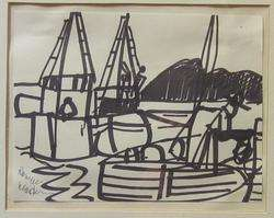 ROMARE BEARDEN African American Artist Original Signed Drawing Harbor