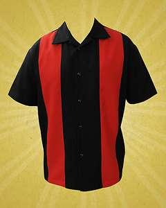 Rock Steady Black & Red Bowling Lounge Shirt Rockabilly Retro Punk