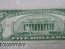 US 1934 A $5 FIVE DOLLAR BILL FEDERAL RESERVE NOTE HAWAII BROWN SEAL