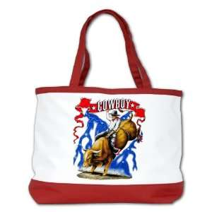 Shoulder Bag Purse (2 Sided) Red Cowboy Riding Bull With