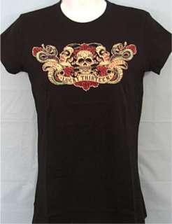 LUCKY 13 WOMENS Vida Muerte Black Shirt size MEDIUM