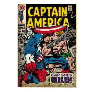Marvel Comics Retro Captain America Comic Book Cover #106, Cap Goes