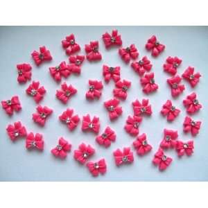 Nail Art 3d 40 Pieces Hot Pink Bow Tie/Rhinestone for