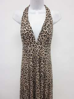 DESIGNER Brown Animal Print Halter Maxi Dress Sz M