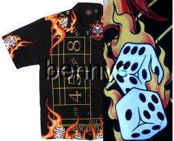 NEW Vegas craps dice flames biker shirt, Dragonfly, XXL