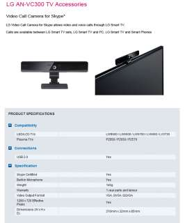 LG Smart TV Web Camera AN VC 300