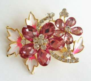 VARY COLORS BIG SWAROVSKI CRYSTAL GOLD FLORAL PIN BROOCH 1111