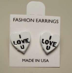 Vintage 60s Enamel Valentines Day Conversation Candy Heart Pierced