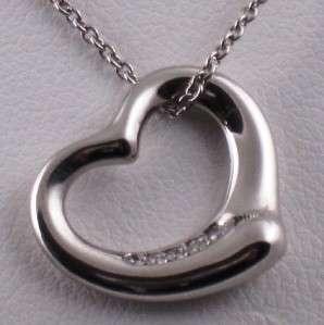 TIFFANY Peretti Open Heart Diamond Pendant   Tiffany Suede/Box/Bag GAL