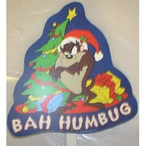 Looney Tunes Tasmanian Devil 3 Christmas Sign on Stake