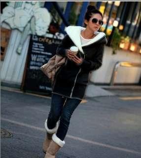 Women Winter Warm Zip Hoodie Jacket Coat Outerwear Size S M Gray Black