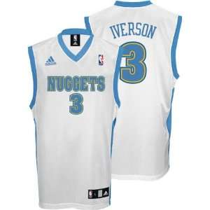 Allen Iverson Jersey: adidas White Replica #3 Denver