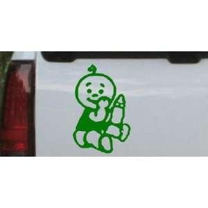 Dark Green 3in X 4.6in    Baby With Bottle Car Window Wall