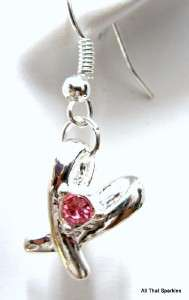 Breast Cancer Awareness Ribbon Pink Crystal Earrings