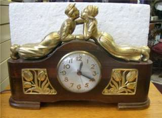 electric wood cased SESSIONS mantel clock Kissing Dutch boy girl