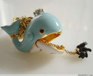 NIB JUICY COUTURE BLUE WHALE BRACELET NECKLACE CHARM