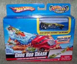 HOT WHEELS CROC ROD CRASH PLAYSET   COLOR CHANGING CAR 027084846966