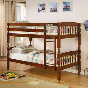 Twin Over Twin Bunk Bed in Medium Brown Pine by Coaster 460223