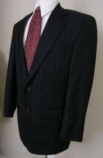 Samuelsohn Suit Full Canvas Wool Navy Blue Gray Pinstripe 41R 34W