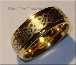 599 RARE 9MM TUNGSTEN GOLD CELTIC MENS RING Size 5 17