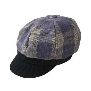 Plum Plaid Paper Boy Cap Home & Kitchen