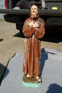 Antique Statue of St. Francis Assisi + 37 ht. +