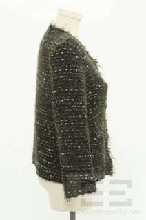 Etoile Isabel Marant Green And Blue Boucle Knit Snap Front Jacket Size