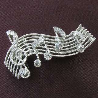 Treble Clef Music Note Clear Stone Crystals Fashion Brooch Pin Silver