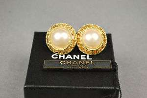 Auth CHANEL CC Faux Pearl Gold Tone Clip on Earrings 94