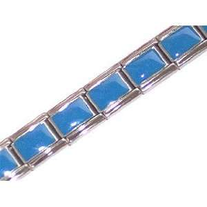 Light Blue Shiny Italian Charm Bracelet Jewelry