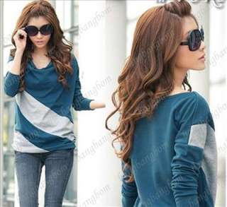 T30 Fashion Korean Casual Batwing Long Sleeve T shirt Stripe Tops