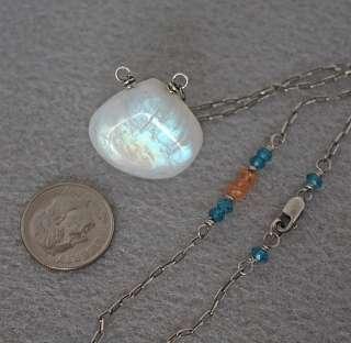 Rainbow Moonstone Orange Sapphire Blue Topaz Pendant Necklace Sterling