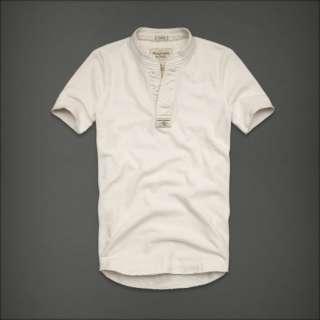 NWT Abercrombie Men Beaver Meadows Short Sleeve Henley Tee T Shirt Top