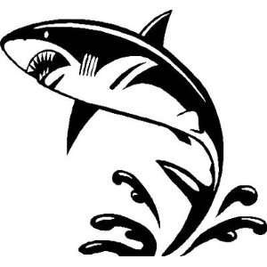 SHARK ATTACK JUMPING / wall or car   Vinyl Decal   Cool size 18 x 18