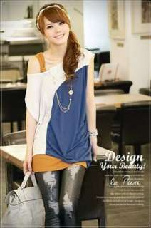 Ladys korean fashion COTTON Asymmetric casual top/Tshirt Blue