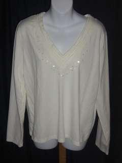 Rafaella IVORY Knit Stretch Cotton V Neck Shirt Top XL