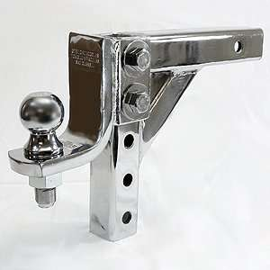 CHROME 10 ADJUSTABLE TRAILER DROP BALL MOUNT HITCH TOW
