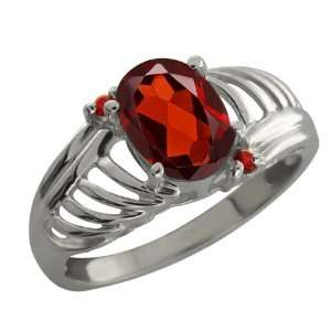 1.44 Ct Oval Checkerboard Red Garnet 18K White Gold Ring