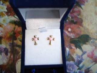 NWT .10K Yellow Gold Cross Studs with Pink Enamel