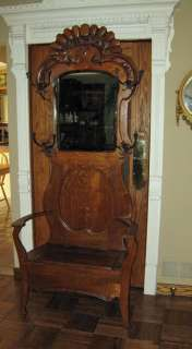 antique Tiger OAK carved Mirrored HALL STAND w / bench **majestic