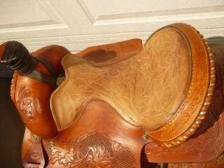 TEXAS SADDLERY BASTROP TEXAS 16 WESTERN HORSE SADDLE . IN GOOD SHAPE