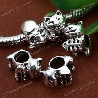 5x Tibetan Silver Cute Cat Fish Large Hole Beads Charm