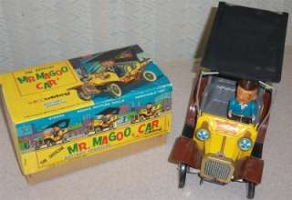 1961 Hubley Mr. Magoo Battery Operated Tin Litho Car w/ Box NR