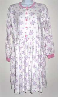 Hanna Andersson white pink snowflakes cotton long sleeves dress EUC