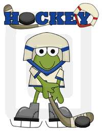 The word Hockey measures 8 x 2. The hockey frog measures 7 x 8.