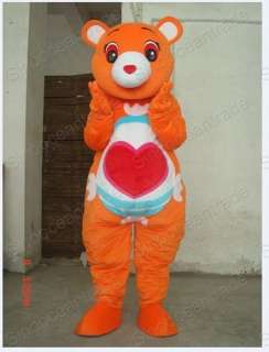 ORANGE TEDDY BEAR ADULT CARTOON MASCOT COSTUME SUIT