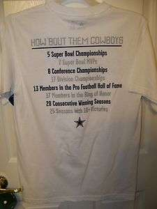 How Bout Them Dallas Cowboys Fact 2 Sided Shirt White Mens Small NWT