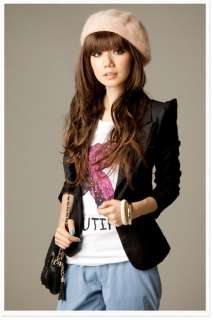 Korea Womens Puff Sleeve Cool Casual Suits Blazer Jacket Outerwear