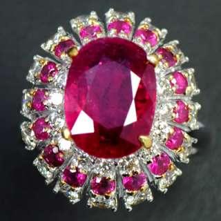 18k White Gold Natural Top Ruby Diamond Ladies Vintage Cocktail Ring