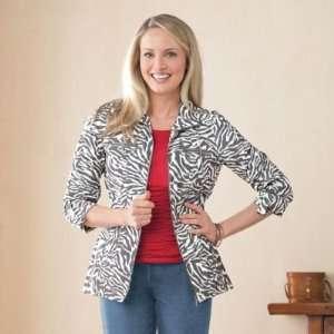 TravelSmith Womens Zip Front Zebra Print Jacket Zebra